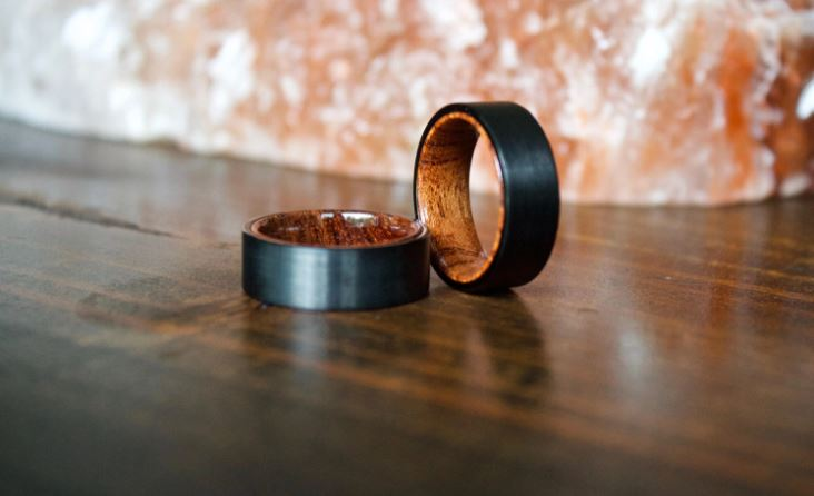 tungsten carbide rings with wood